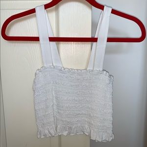 LA Hearts White Ruched Tank Top